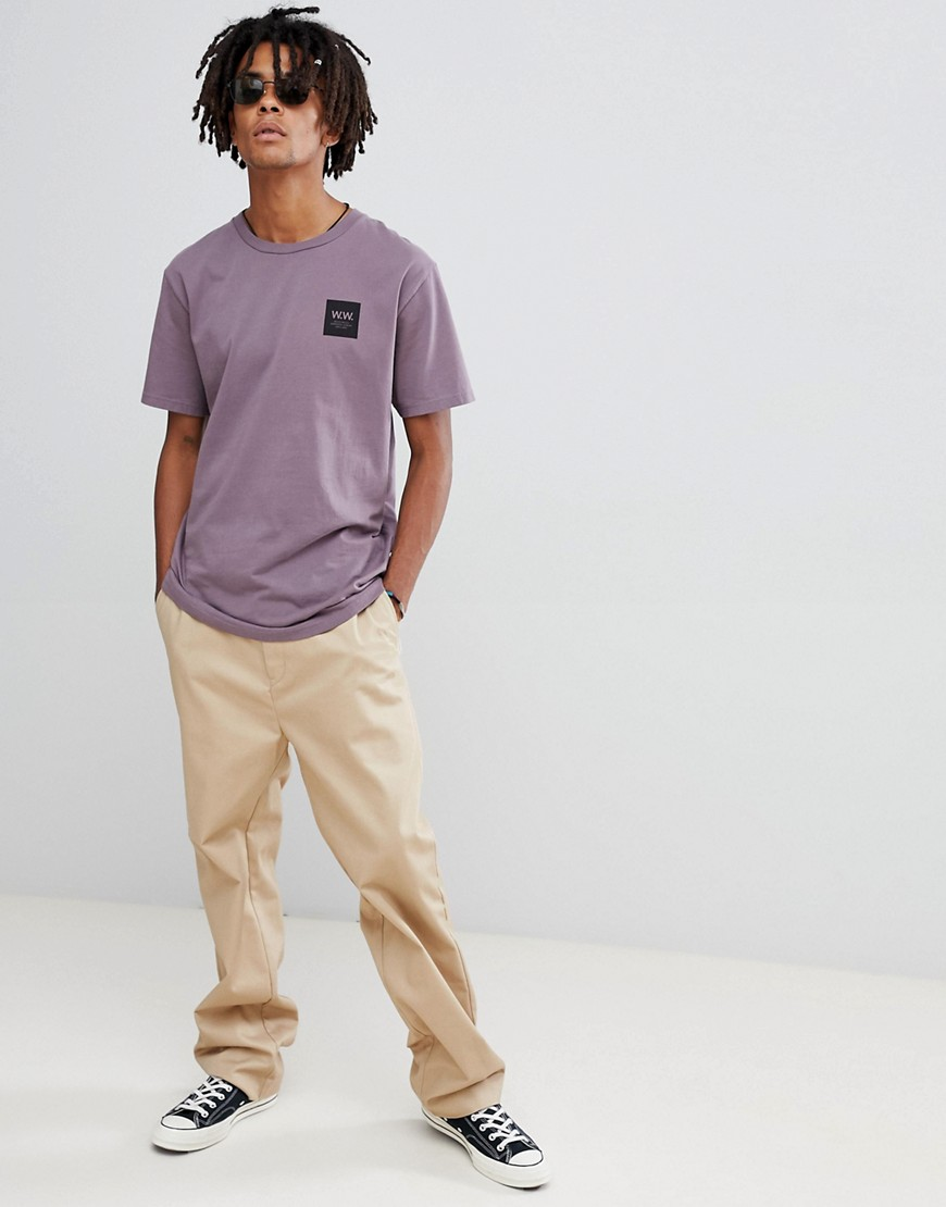 Wood Wood Box Logo T Shirt In Purple by Wood Wood
