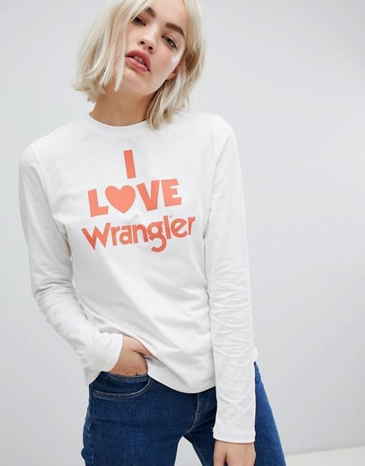 """Immagine 1 di Wrangler - Maglietta a maniche lunghe con scritta """"Love"""""""
