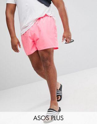 Ярко-розовые шорты для плавания ASOS PLUS