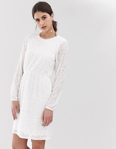 Y.A.S beaded open back mini dress in white