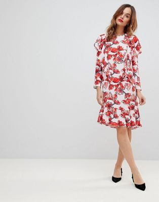 Y.A.S Graphic Floral Frill Shift Dress