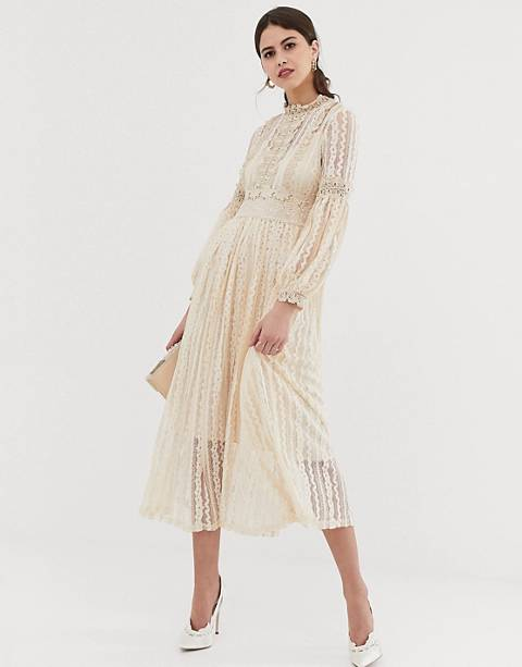 Y.A.S high neck lace midi dress in cream