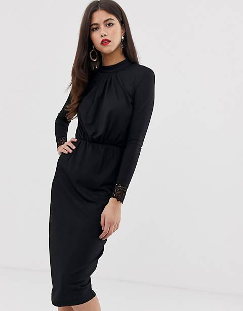 Y.A.S high neck plisse dress with lace cuff in black