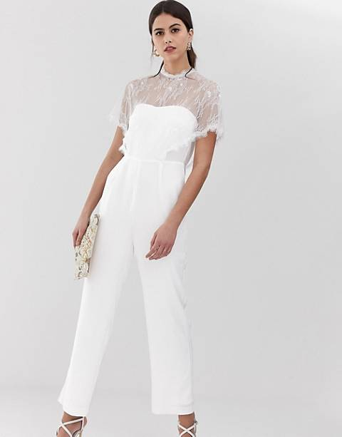 Y.A.S lace bodice jumpsuit in white