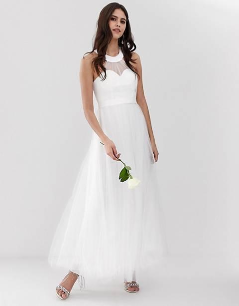 Y.A.S – Langes Tüll-Brautkleid in Weiß mit Sweetheart-Ausschnitt