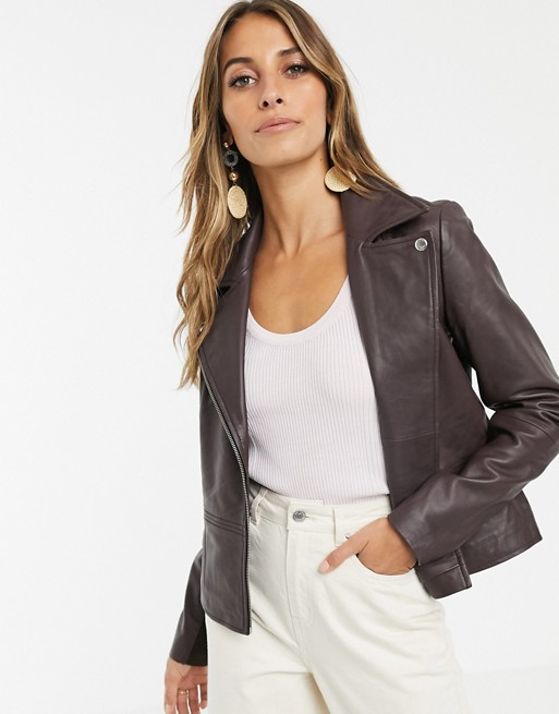 Y.A.S leather jacket in chocolate