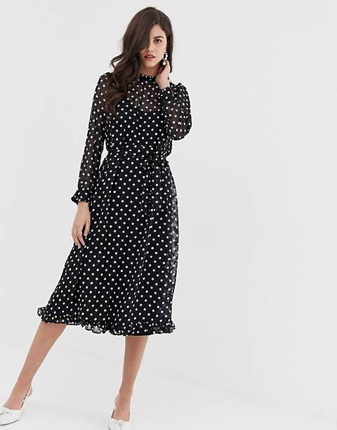 Y.A.S polka dot sheer midi dress
