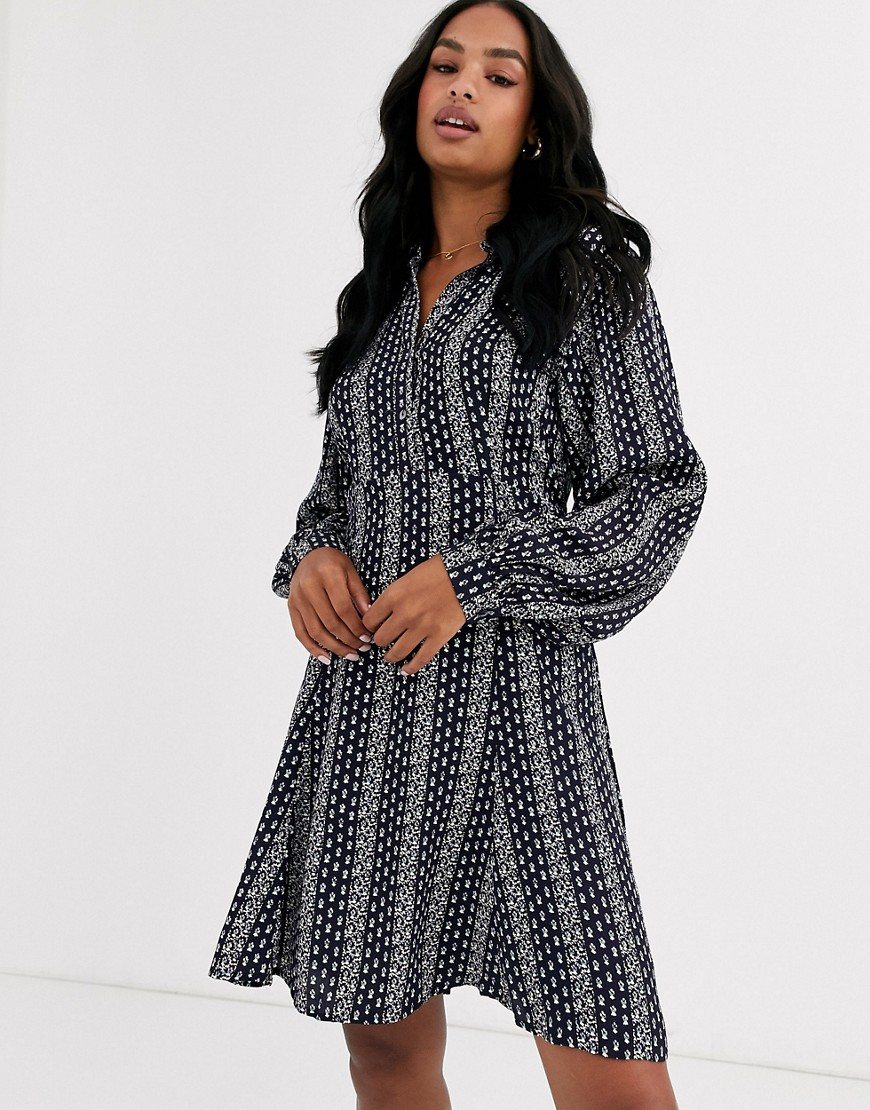 y.a.s printed mini dress with volume sleeve-multi