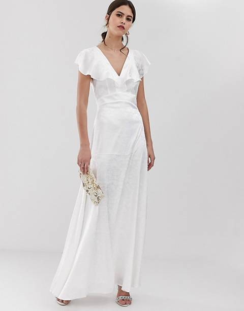 Y.A.S ruffle sleeve jacquard maxi dress in white