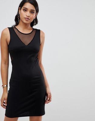 YAS Sassy bodycon mini dress with mesh panels
