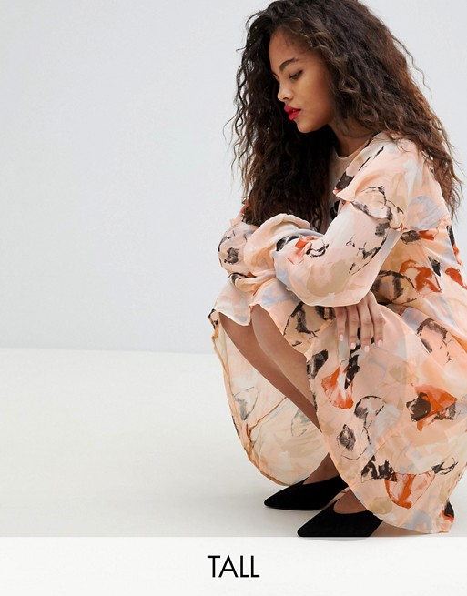 Image 1 of Y.A.S Tall brush print mni shift dress with shoulder detail