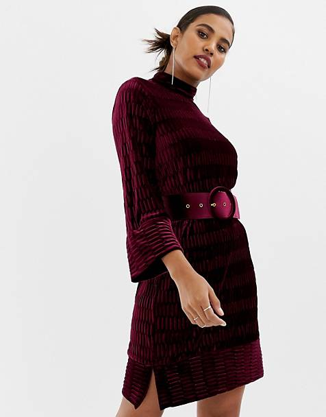 Y.A.S textured high neck mini dress in burgundy