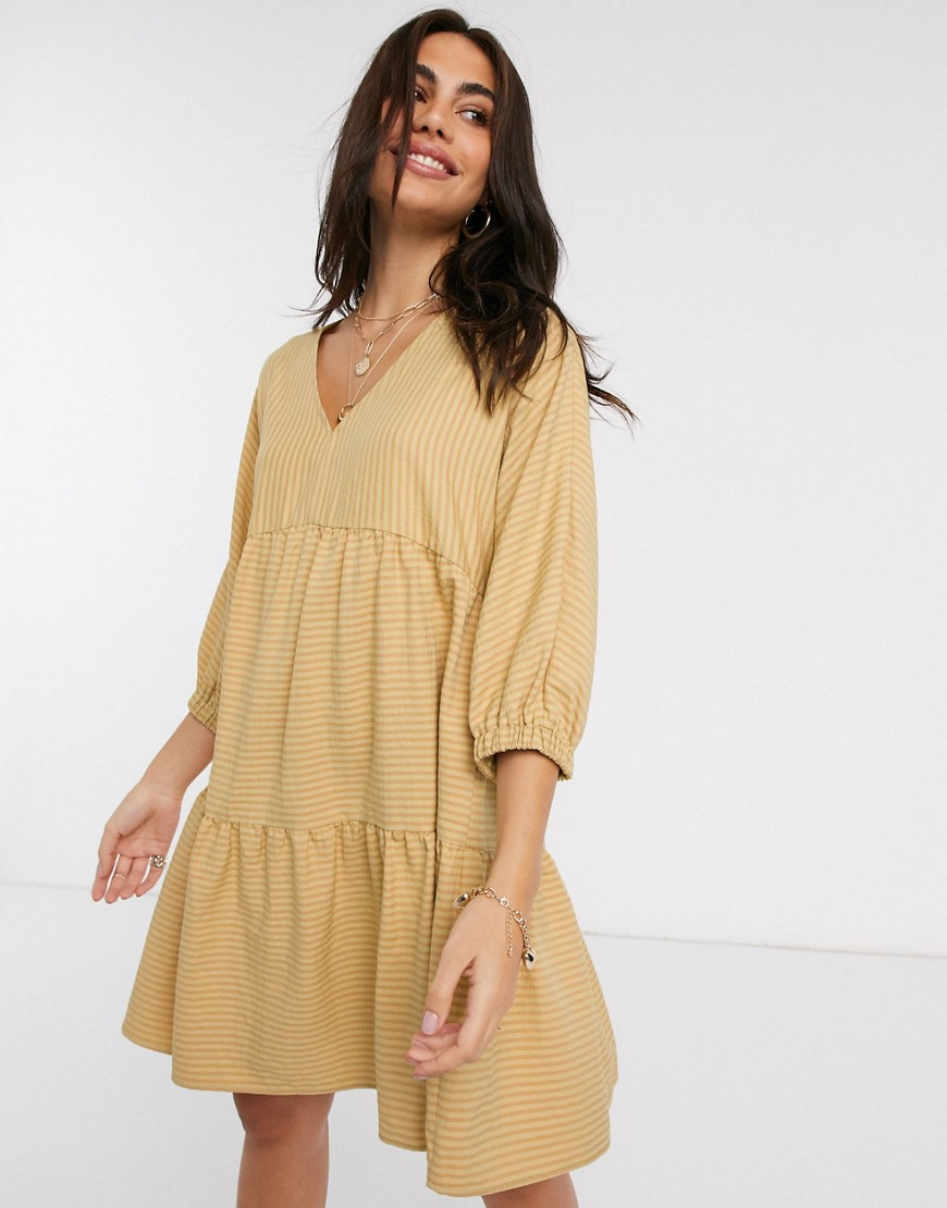 Y.A.S tiered smock mini dress with volume sleeve in tan stripe-Yellow - Y.A.S online sale