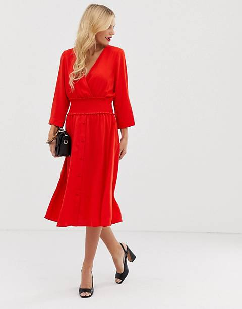 Y.A.S v neck midi dress with elasticated waist