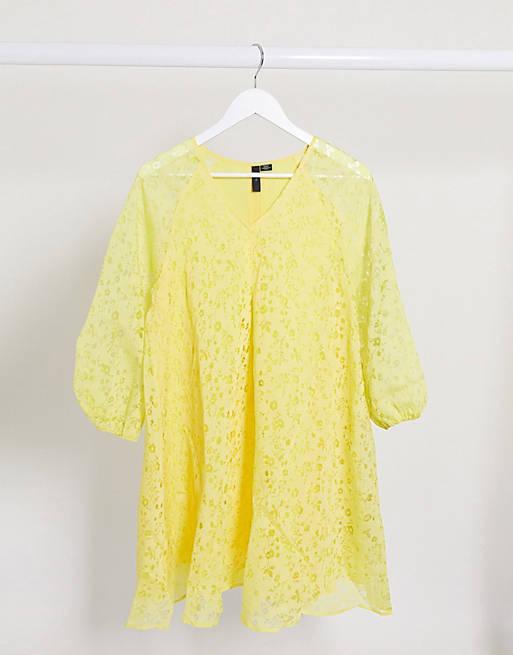 Y.A.S - Vestito grembiule con maniche a sbuffo giallo a fiori