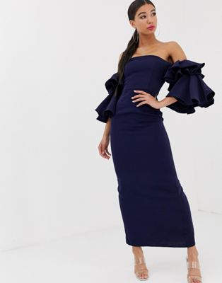 Image 1 of Yaura bardot exaggerated frill sleeve maxi dress in navy
