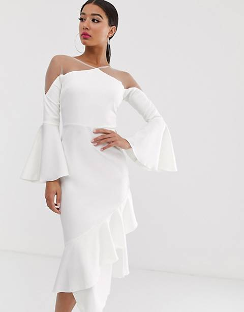 Yaura sheer insert ruffle frill hem midi dress in white