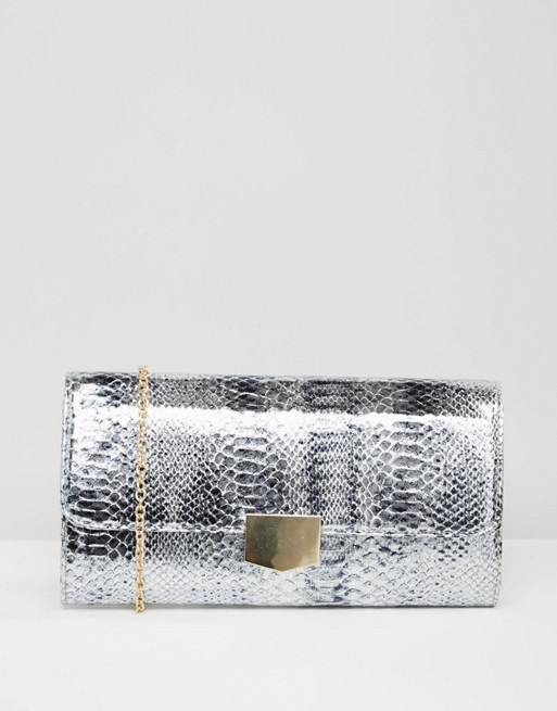 Yoki Faux Croc Clutch Bag
