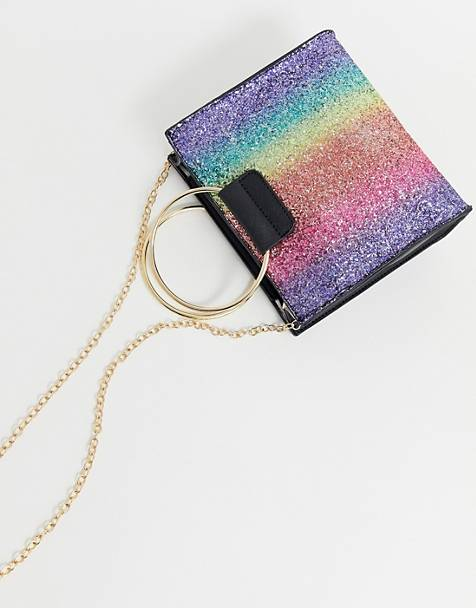 Yoki Rainbow Glitter Cross Body Bag
