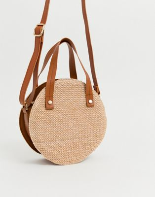 Yoki Straw Circle Cross Body Bag