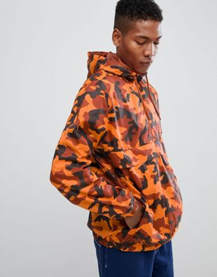 YOURTURN overhead windbreaker jacket in orange camo