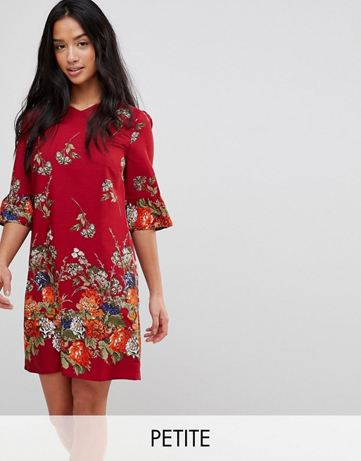 Yumi Petite Frill Sleeve Shift Dress in Floral Border Print  832cf72fc