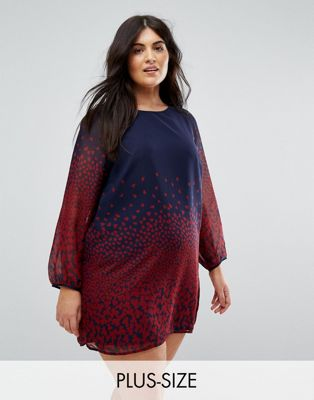 Yumi Plus Long Sleeve Shift Dress In Leaf Border Print