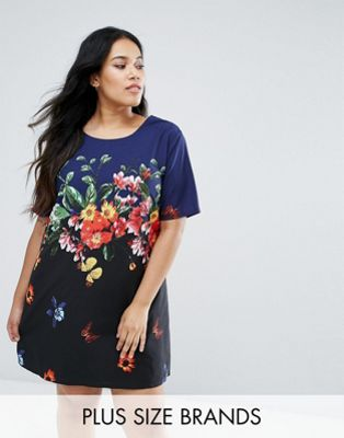 Yumi Plus Shift Dress In Placement Floral Print