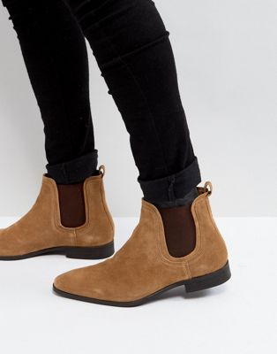 Замшевые ботинки челси коньячного цвета Zign