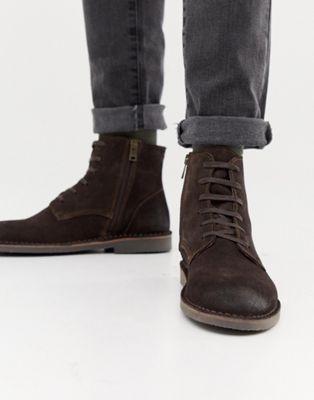 Замшевые ботинки на крепированной подошве Selected Homme