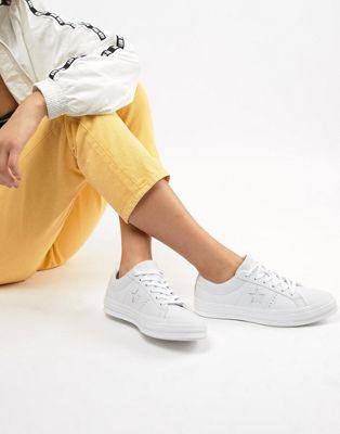 Imagen 1 de Zapatillas blancas de cuero One Star triple de Converse