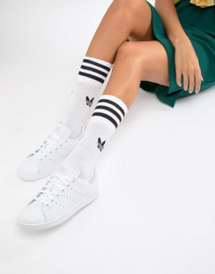 Zapatillas de deporte en blanco y rosa Stan Smith de adidas Originals