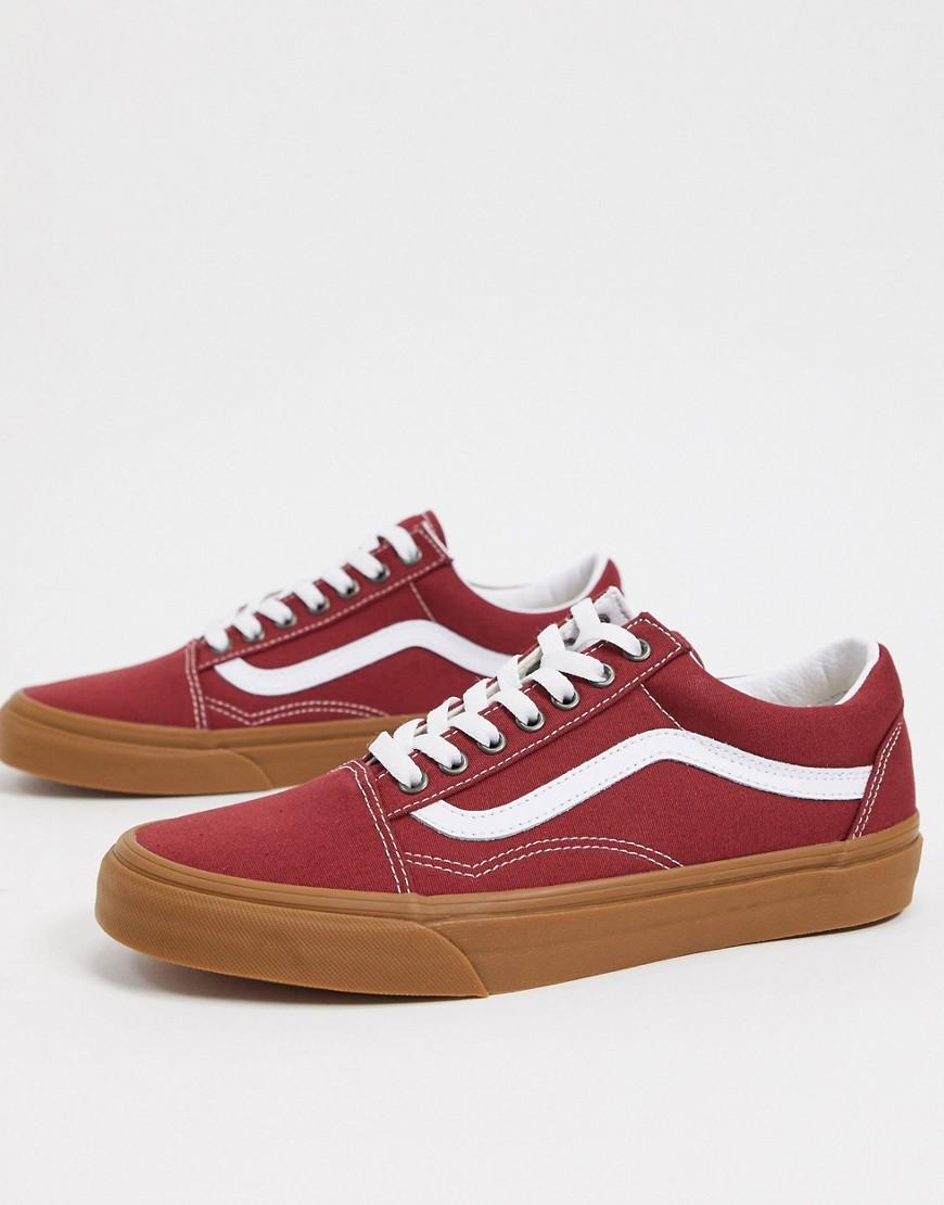 Sneaker Vans Zapatillas rojas con suela de goma Old Skool de Vans-Rojo