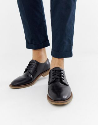 Zapatos de cordones de cuero sintético negro con suela natural de ASOS DESIGN