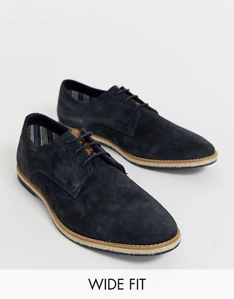 7fba59c2cd8 Zapatos Oxford de corte ancho de ante azul marino Kinch de Base London