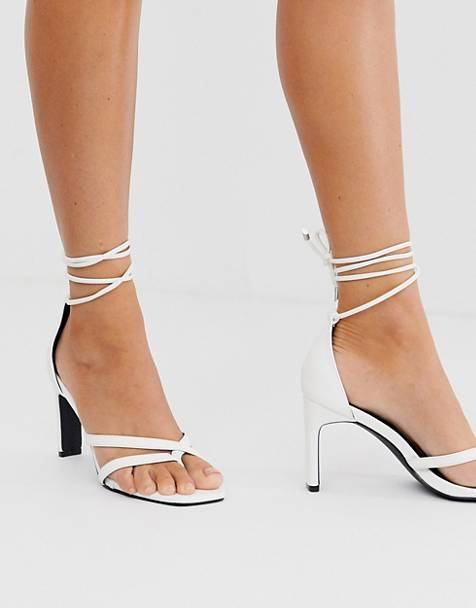 Z_Code_Z Exclusive Monika white square toe ankle tie heeled sandals