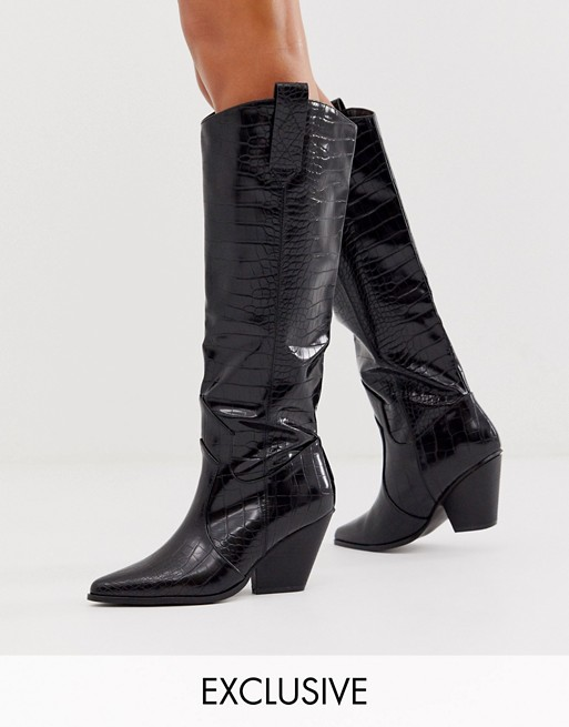 Z_Code_Z Exclusive Nuria black knee high western boots