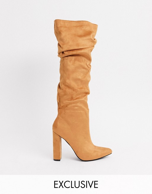 Z_Code_Z Exclusive Vanda vegan slouch knee boots in tan