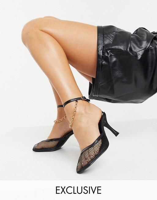 Z_Code_Z - Exclusive - Zoe - Veganske sko med hæle med ankelkæder i sort mesh