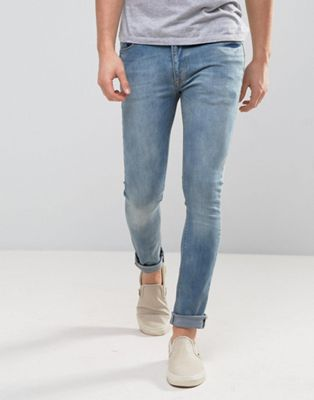 Zeffer Super Skinny Spray On Jeans in Light Indigo Wash