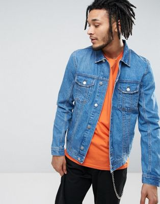 Zeffer Western Style Denim Jacket in Mid Wash