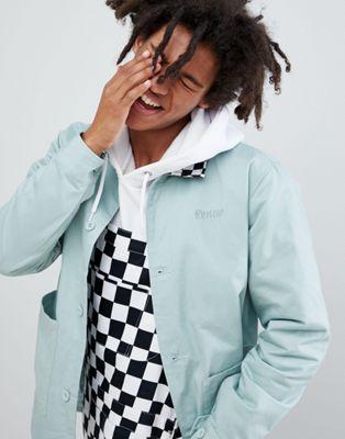 Изображение 1 из Зеленая саржевая куртка с воротником в шахматную клетку RIPNDIP