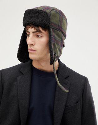 Зеленая шерстяная шапка-ушанка в клетку с подкладкой из искусственного меха PS Paul Smith
