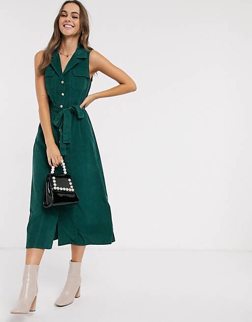 Зеленое вельветовое платье-рубашка миди ASOS DESIGN
