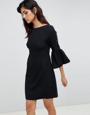 Жаккардовое платье миди с рукавами-колокол Vesper