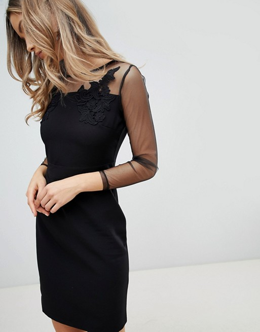 Image 1 of Zibi London Mesh Sleeve Bodycon Dress
