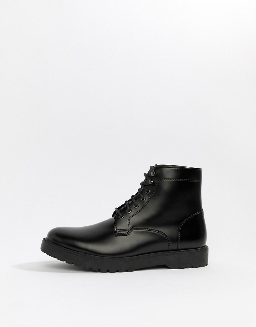 Zign Lace Up Boots In Black High Shine by Zign