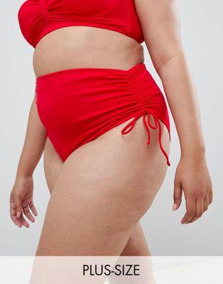 Zizzi - Bikinibroekje met hoge taille en ruche aan de zijkant