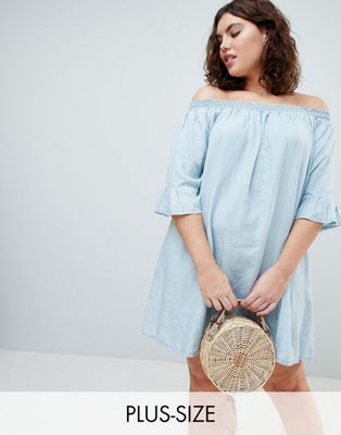 Zizzi Off The Shoulder Denim Dress