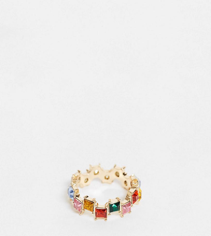 Золотистое кольцо с разноцветными квадратными камнями ASOS DESIGN Curve-Золотистый ASOS Curve